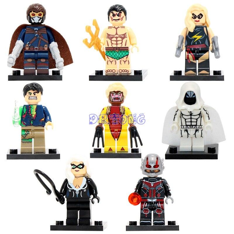 DR.TONG X0117 Marvel Super Hero Ant Man Moon Knight Sabretooth Mini Dolls Building Blocks Bricks With Base Classic Kids Toys