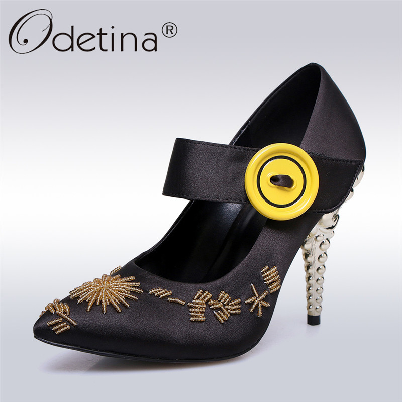 Odetina 2018 New Fashion Women Satin Pumps Pointed Toe Flower Button Sweet Shoes Hook & Loop Thin High Heels Pumps Big Size 43 odetina 2018 new fashion women wedges pumps women comfort hidden heel casual hook