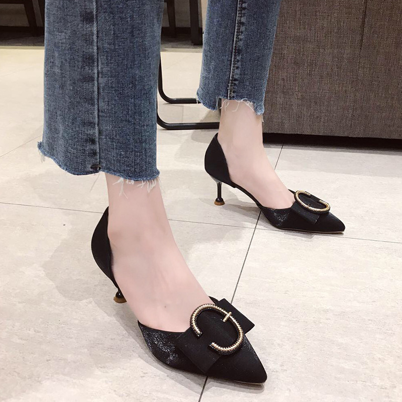 Summer 2019 new Korean version of thin heeled shallow mouth pointed leather belt buckle set feet clear HEELS SANDALS in High Heels from Shoes