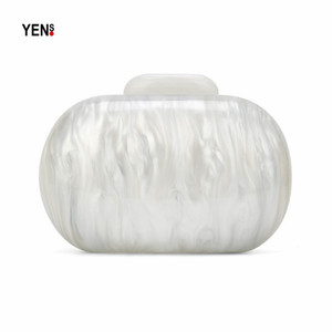 Image 1 - New Brand Fashion Wallet Women Acrylic Cute Round Luxury Marble Solid Pearl White Evening Handbags Party Wedding Vintage Clutch