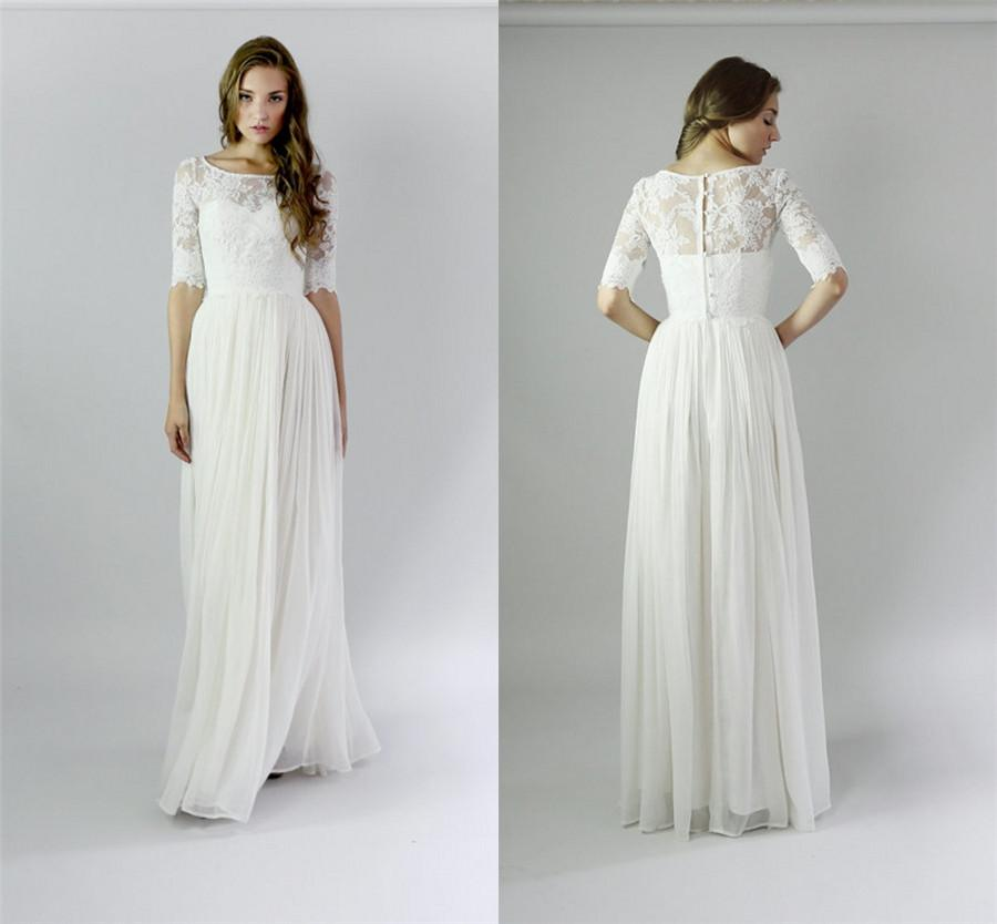 Long Beach Modest Wedding Dresses With Sleeves Lace
