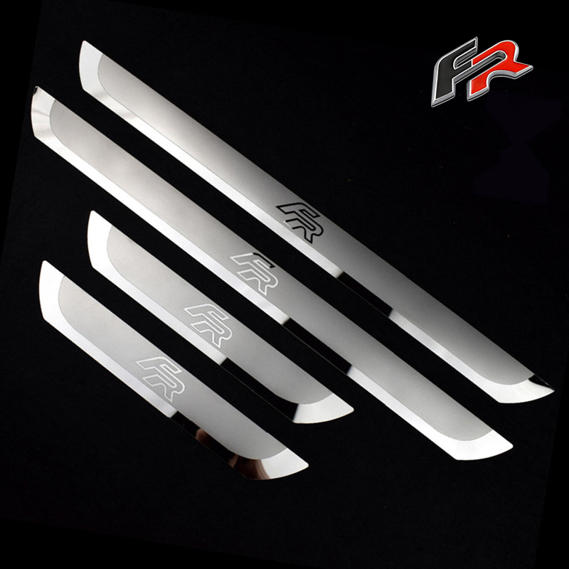Car Door Protective Guard Plates For SEAT LEON ARONA ATECA TOLEDO Mii FR Stainless Steel Scuff Plate Door Sill Cover Trim