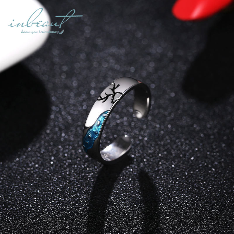 inbeaut 925 Silver Couple Deer Rings Male Female Fairy World Beautiful Love Deers Branched Antlers Animal Handmade Ring Women in Rings from Jewelry Accessories