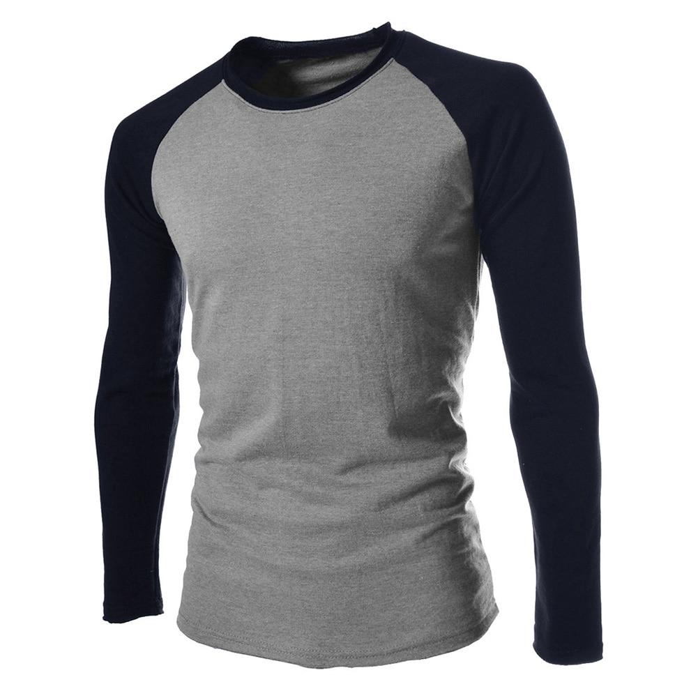 font b Men s b font O neck Long Sleeves T Shirt Casual Contrast Color