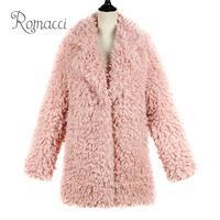 Romacci 2018 Winter Pink Faux Fur Coat Women Long Furry Fur Jackets Ladies Outerwear Oversize Warm Jacket Coats Female Overcoat