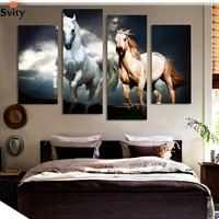 Framed 4 Panels Modern Wall Art Canvas HD Printed Painting Horse Painting Canvas Wall Art Home Decoration for Living Room
