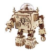 Robotime 5 Kinds 3D Steampunk Puzzle DIY Movement Assembled Wooden Model Toys for Children Adult Brain Training Music Box AM680