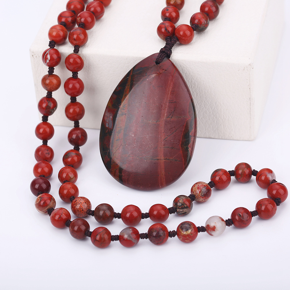 New Arrival Natural Agates Gem Stone Jewelry Long Necklace Sweater Chain Red Jasper Pendants & Necklaces For Women Girl Lover