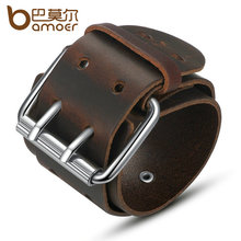 BAMOER Simple Wide Genuine Leather Bracelet With Alloy Clasp Buckle Fashion Men Bracelets Best Gift PI0338-1