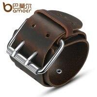 BAMOER Simple Wide Genuine Leather Bracelet With Alloy Clasp Buckle Fashion Men Bracelets Best Gift PI0338