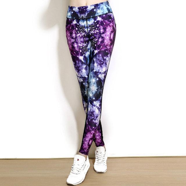 2016 Mujeres Sexy Leggings Deportivos de Fitness Pantalones de Entrenamiento Pantalones 3D Púrpura Del Diamante de Impresión Delgado Elasticidad Jeggings