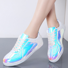 MIUBU Fashion Sneakers Women Flats Shoes Casual Outdoor Walking Shoes Woman Lace-up Gold Glitter Ladies Shoes Zapatos Mujer цена 2017