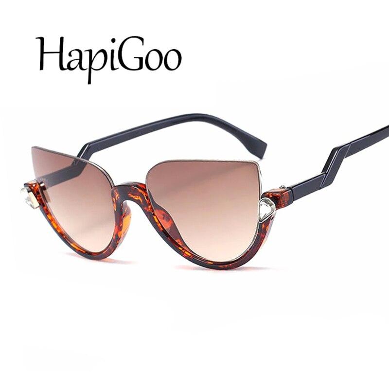 HapiGOO 2019 New Fashion Half Frame Rimless Cat Eye
