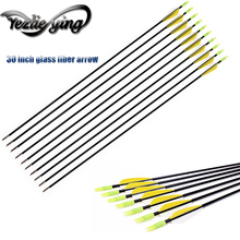 12/24PCS 30 Inches Fiberglass Arrows yellow /white Vanes for Recurve Bow Archery Hunting Shooting Girl Woman