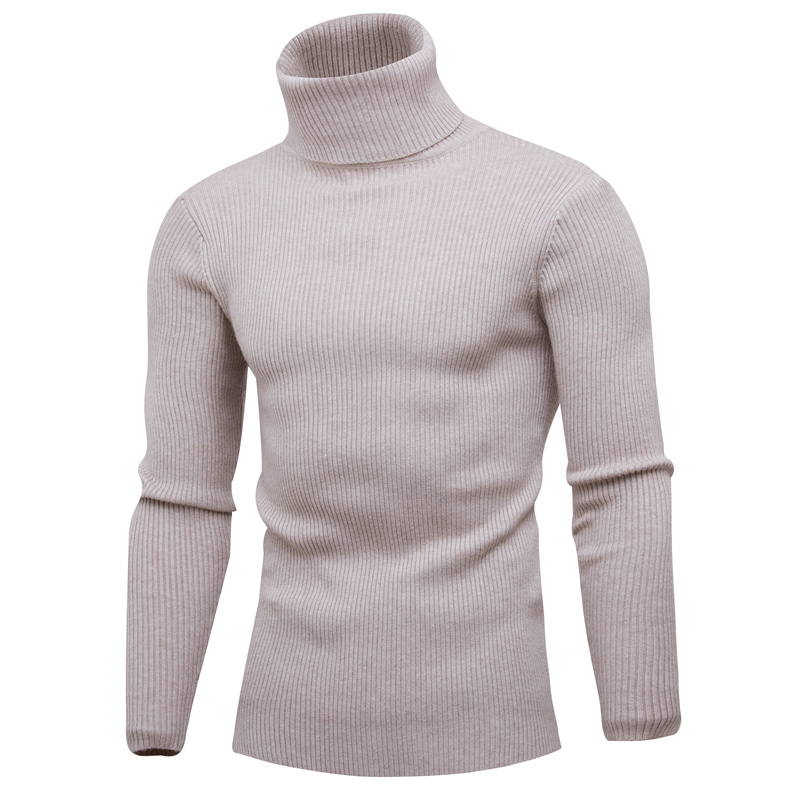 2018 autumn and winter new fashion handsome sleeve vertical solid color can turn high co ...