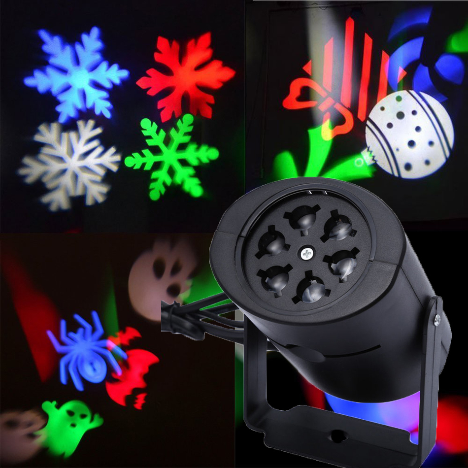 Christmas Laser Projector DJ LED Stage Light Heart Snow Spider Bowknot Bat Landscape Party Lights Garden