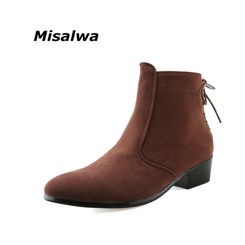 Misalwa Men's Black Classic Chelsea Natural Suede Leather Boots Male Brown Heel Riding Buckle Fashion Stylish Camel Ankle Boots