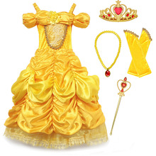 Deluxe Beauty and the Beast Princess Belle Halloween Costume Girls Model Show Photography Dress Kid Summer Cosplay Party Clothes princess bell dress purple mesh beauty and the beast a line cosplay dress kids carnival costume halloween party show vestido