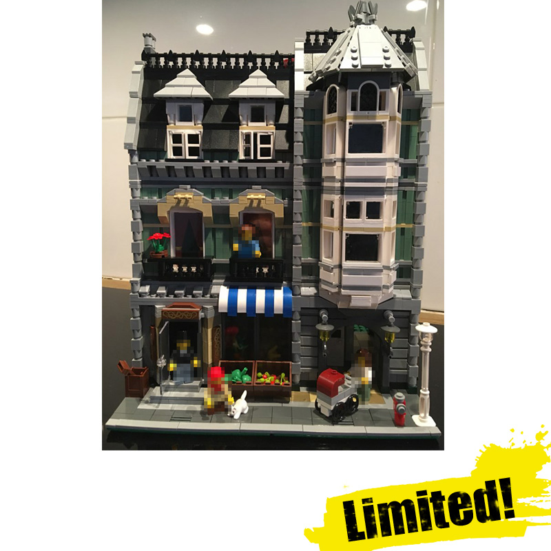 IN STOCK 2462Pcs 15008 15008B City Street Green Grocer Model Building Kits Blocks Bricks Toys Gift LEPIN Compatible 10185 lepin 15008 new city street green grocer model building blocks bricks toy for child boy gift compatitive funny kit 10185 2462pcs