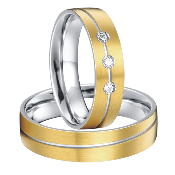 Custom Bridal Pair titanium steel rings wedding band sets 2015 new gold color alliances anel