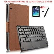 Capa de couro para huawei mediapad t3, capa destacável magnética de teclado bluetooth para huawei mediapad t3 10 AGS L09/l03 9.6 polegadas presentes
