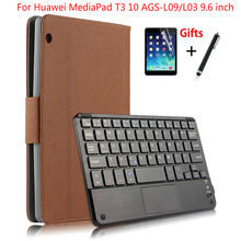 For Huawei MediaPad T3 10 AGS L09/L03 9.6 inch Tablet Magnetically Detachable ABS Bluetooth Keyboard Leather Case Cover +Gifts