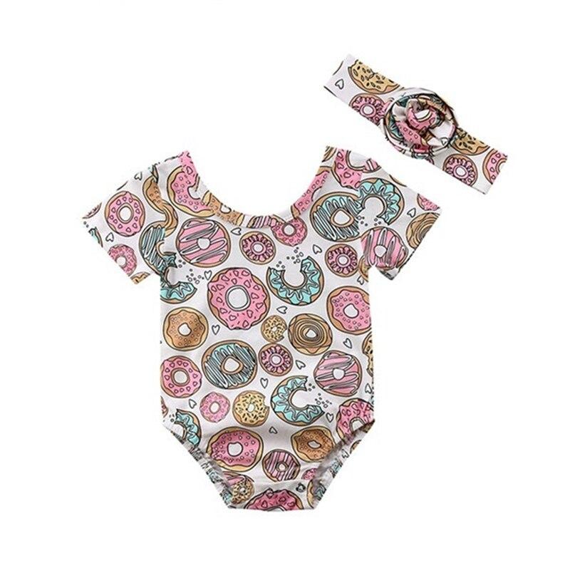 Newborn Kids Baby Girl Donuts Short Sleeve T Shirt +Floral Headband 2 Pcs Summer Fashion Doughnut Jumpsuit 0-24 M ClothesNewborn Kids Baby Girl Donuts Short Sleeve T Shirt +Floral Headband 2 Pcs Summer Fashion Doughnut Jumpsuit 0-24 M Clothes
