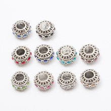 20pcs Crystal flower European beads Fit Pandora Charms Original Bracelet Spacer Charm Beads Jewelry Making  DIY Berloque js1466