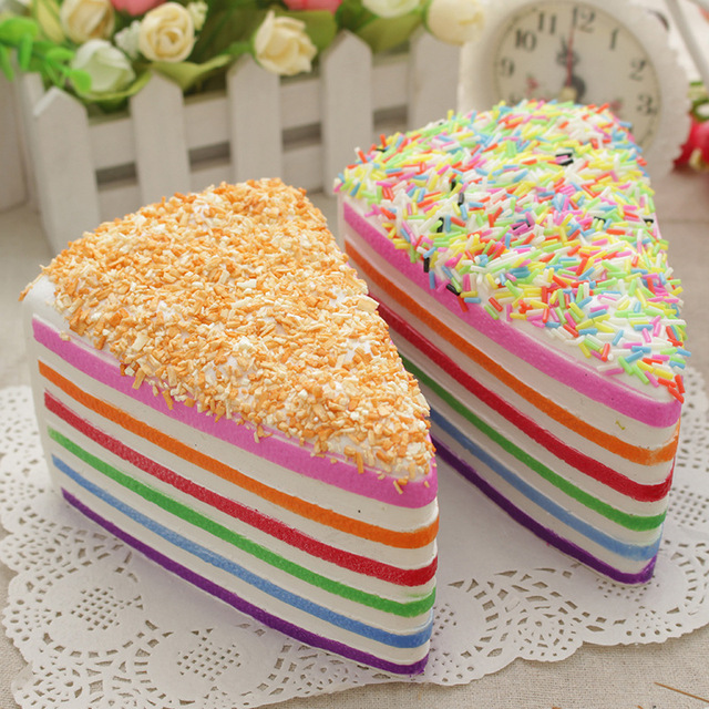 Super Slow Rising Squishy 20s Rainbow Cake Squishy New Styles Bread Squishy Charms 1pcs