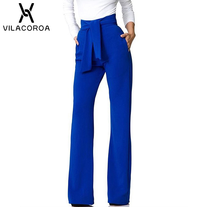 Sexy Stretch High Waist Flare   Pants   Women Elastic Loose   Wide     Leg     Pants   Female Solid Casual Trousers with Pocket pantalon femme