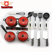 Stainless Steel Cook Ware Toy House Kitchen Pretend Play Utensils Cooking Pots Pans Food Dishes Kids