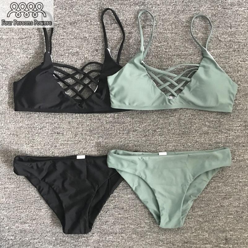 2016 Hot BIKINI Set Sexy Strapless Padded Bra Swimsuit Top Slim Bottoms Black White Print Swimwear