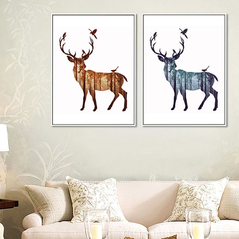 Art elk animal wall stickers from artist handmade modern abstract oil painting decoration in canvas wall