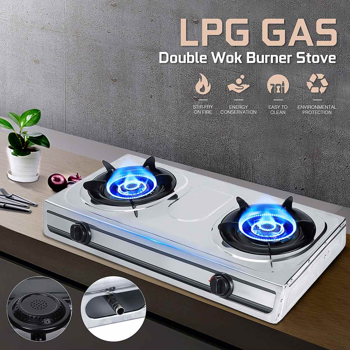 3.8-4KW 2 Pots Gas Stove Dual-range Stainless Steel Liquefied LPG Gas Bench-top Burners Home Kitchen Cooker