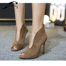 NEW Women Pumps High Heels Stiletto 2017 European Autumn Sexy Peep Toe Shoes Women's Shoes Big Size Shoes Woman 40 Black/Apricot