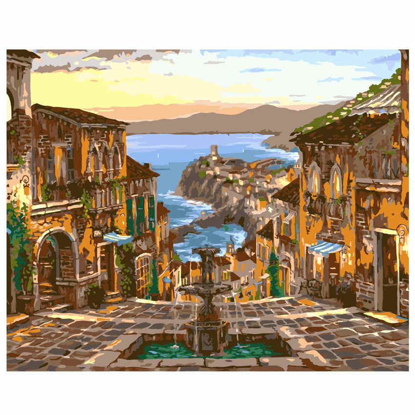 WONZOM Seaside City Painting By Numbers Villa Oil Painting Cuadros Decoracion Acrylic Paint On Canvas Modern 9 Type Home Decor