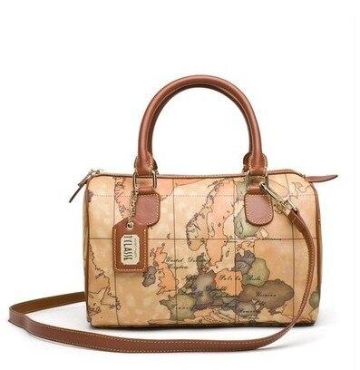 Italy Alviero Martini Map Bag Fashion Handbag Shoulder Portable Europe And America New Boston