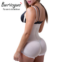 Burvogue Hot Latex Body Shaper Plus Size Tummy Control Underwear Clip And Zip Bodysuit Vest Slim