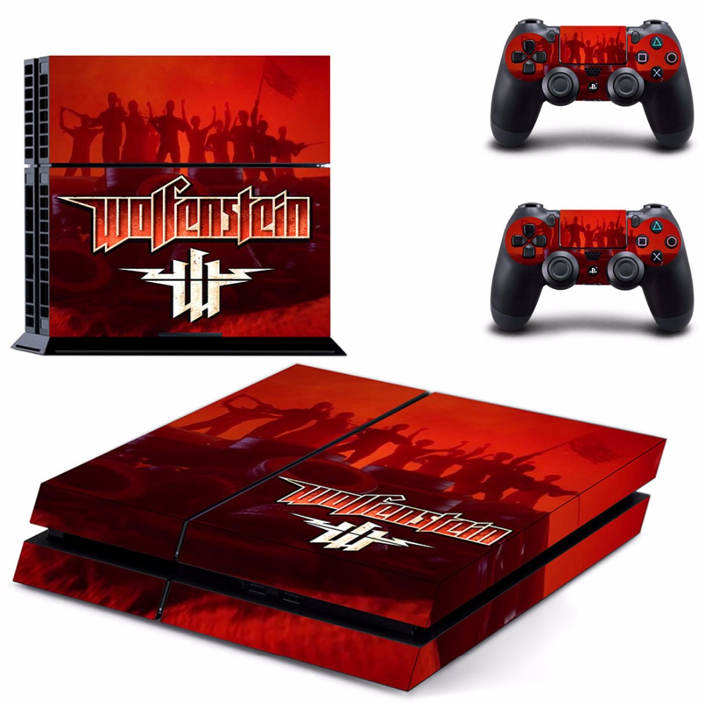 PS4 Skin Sticker For PlayStation 4 Console and 2 Controllers PS4 Skin Sticker Vinyl Decal - Game Wolfenstein Youngblood
