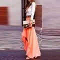 Orange High Low Chiffon Evening Skirts 2016 Street Fashion Summer Style Chic Invisible Zipper Waist Women Party Skirts