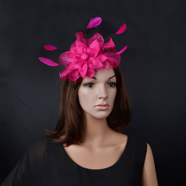 f0736d37b12f6 New Arrival.fuchsia hot pink wavy sinamay Fascinator hat with feather for kentucky  derby wedding church races party