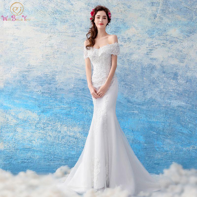 Walk Beside You Wedding Dresses Turkey Vestido De Novia 2019 Deep V neck Mermaid Off Shoulder
