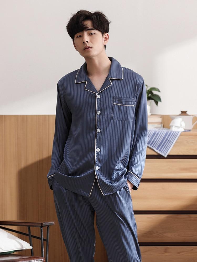 Underwear & Sleepwears Men's Sleep & Lounge Dedicated 2019 Summer Chinese Style Sleepwear Male Silk Short Sleeve Length Pants Pyjamas Silk Pajama Sets & High Quality Silk