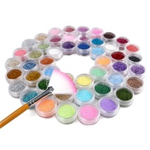 48 Colors Glitter Dust Power Set For Micro Acrylic Nail Art Decoration & Brush nail art tools  beauty wholesale
