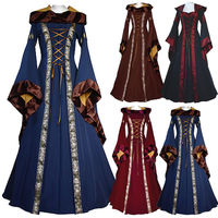 Sensfun Women Medieval Oil Cloth Long Maxi Dresses Gowns Gothic Peasant Wench Victorian Dress Vintage Long Sleeve Renaissance