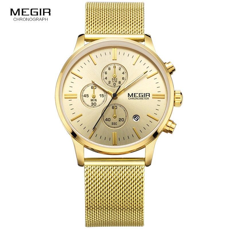MEGIR Top Brand Luxury Watch Men Business Dress Chronograph Watches Reloj Hombre Clock Men Stainless Steel Mesh Relogio 2011 megir relogio reloj hombre megir 2008 09