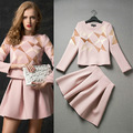 2017 Spring New Fashion Runway  Brand Geometric Embroidery Long Sleeve Blouse + Pleat Skirt 2 Pcs Women Clothing Set 4049