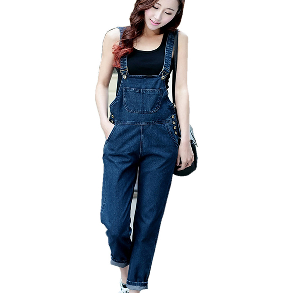 LinsDenim Women denim jumpsuit three-color bib pants preppy style plus size jeans female trousers jumpsuit plus size pants the spring new jeans pants suspenders ladies denim trousers elastic braces bib overalls for women dungarees