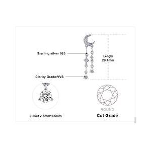 Image 4 - Женские серьги подвески из стерлингового серебра 925 пробы с фианитом и звездой, корейские серьги, модные ювелирные изделия