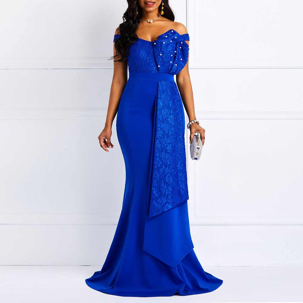 6f51aed38e Women Maxi Dresses Plus Size trumpet Mermaid Sexy Deep V Plain ...